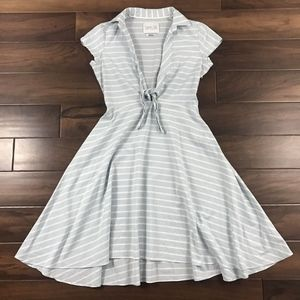 Taylor Blue & White Striped A Line Dress Tie Front